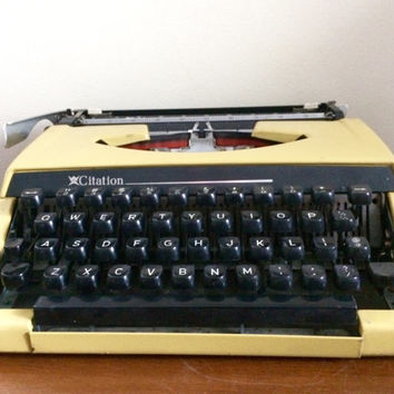 Working Yellow Citation Manual Typewriter by Brother