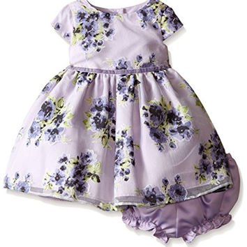 Pippa & Julie Baby Flower Party Dress, Purple, 24 Months