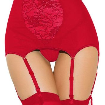 Red High-waisted Lace Hollow-out Garter Belt