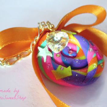 Unicorn Poop Cookie Purse Charm, Bag Jewelry, Kawaii Polymer Clay Sweets, Fairy Kei Accessories
