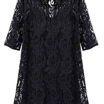 Black Plain Lace Hollow-out 2-in-1 Peter Pan Collar Elbow Sleeve Mini Dress