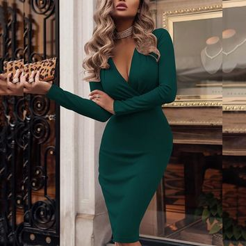 classic bodycon dress for party club wear office Women Ladies Sexy V-Neck Long Sleeve Autumn solid color ruched sheath dress