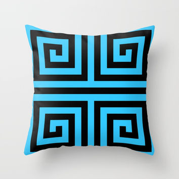 Graphic Geometric Pattern Minimal 2 Tone Zig-Zag Swirl (Blue Teal & Black) Throw Pillow by AEJ Design