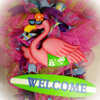 Spring Deco mesh Door Swag, Welcome Sign ribbons  Summer Flamingo Surfer Wreath Pink, Green, Turquoise, Purple door hanger wreath swag decor
