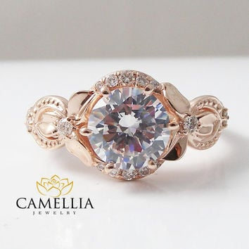 Forever Brilliant Round Moissanite Engagement Ring in 14k Rose Gold set with 8mm Moissanite Round Cut Diamond Halo Ring