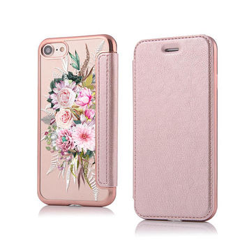Floral iPhone 8 Wallet iPhone 7 Wallet Case iPhone 8 Plus Wallet Case Wallet Case Phone Wallet Faux Leather Wallet Womens Rose Gold iPhone