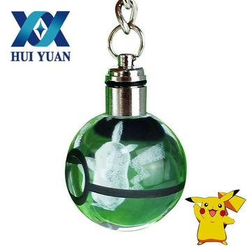 HUI YUAN Pikachu LED Keychain Glass Ball Novelty  Engraving Round 3D Crystal Glass Ball Colorful PendantKawaii Pokemon go  AT_89_9