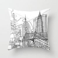 New York! B&W Throw Pillow by David Bushell