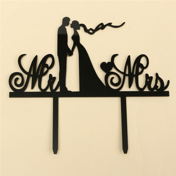 Wedding Cake Topper Black Personalized Mr & Mrs Cake Topper Last Name Anniversary Acrylic Cake Stand Casamento Decoration