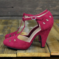 Pure Romantics Suede Eyelet Cut Out Heels Burgundy