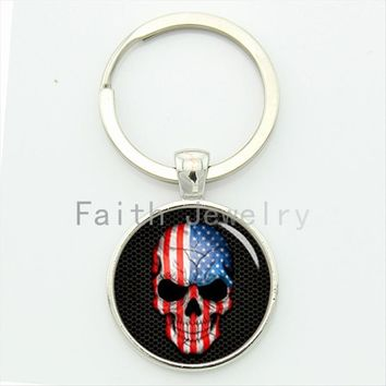 American symbol superhero keychain American flag skull key chain personalized men jewelry fashion unique gifts KC235