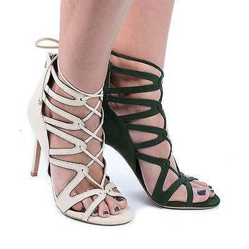 Kefani By Shoe Republic, Open Toe Caged Lace Up Leg Wrap Stiletto Heel Sandals