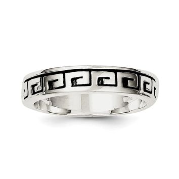 Sterling Silver Greek Key Antiqued Band Ring