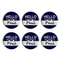 Paul Hello My Name Is Plastic Resin Button Set of 6