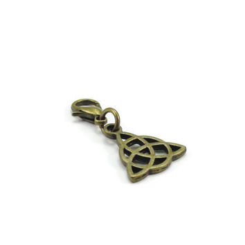 Bronze Celtic Knot Charm, Purse Charm, Clip on Charm, Zipper Pull