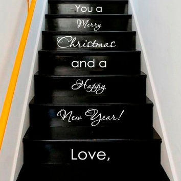 Wall Decal Vinyl Sticker Decals Art Decor Design Sign Custom  Quote Stairs Merry Christmas Happy New Year