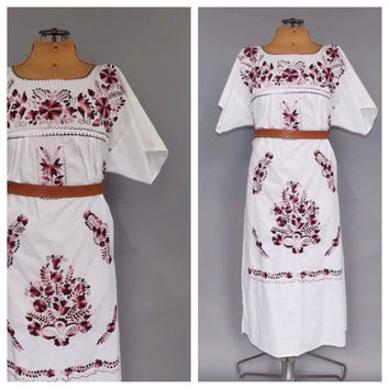 Size Large Vintage 70s 80s Mexican Folk Dress White Cotton Floral Embroidered Boho Summer Sundress Indie Folk Hippie Peasant Festival