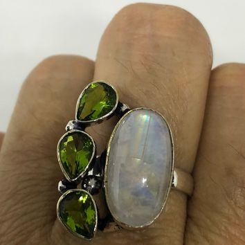 Vintage Genuine Blue White Rainbow Moonstone and Green Peridot ring