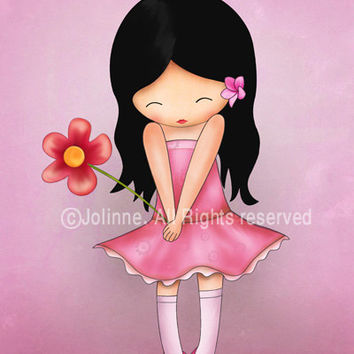 Girl wall art print, pink room decor, kids art decor, children wall art, nursery decor, nursery art prints