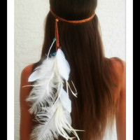 Feather HeadBand, Native American Style, wedding, bridal  boho headband, feather, wedding, turquoise, feather veil, hippie, tigers eye