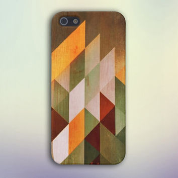 Geometric Color Blocks x Stained Wood Case for iPhone 6 6+ iPhone 5 5S 5C iPhone 4 4S and Samsung Galaxy S5 S4 & S3