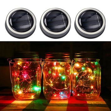 Mason Jar Lights - Solar Powered - Rainbow & White Firefly