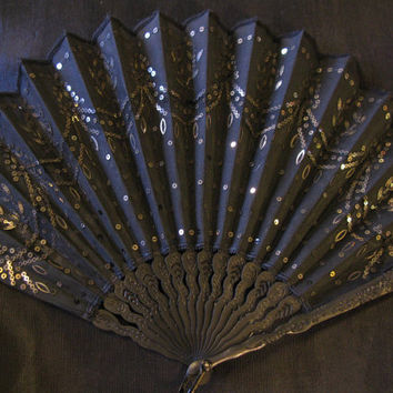 Antique Victorian Mourning Fan, Black Silk Sequin, Ebony Folding Fan