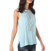 Blue Zip Side Top with Lace Detail