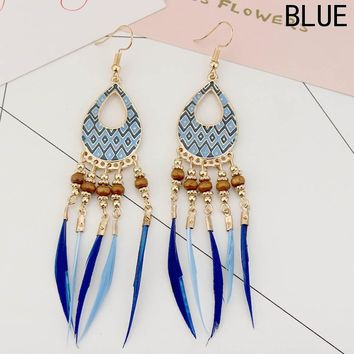 Long Feather Earrings Indian Jewelry Colorful Enamel Beads Tassel Drop Ethnic Earrings