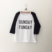 Sunday Funday Funny shirt Womens T-Shirt Women Baseball Tee Shirt Instagram Tumblr Quote Hipster Graphic Tees Shirt Teen Girl Clothing Tops