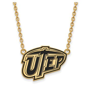 NCAA 14k Gold Plated Silver U of Texas El Paso Enamel Pendant Necklace
