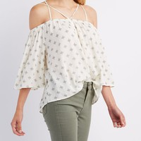 Printed Strappy Cold Shoulder Top