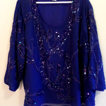 Vintage 90's Royal Blue Beaded & Sequin Lined Holiday Top by Roaman's Size 28W Approx 4X Evening/Formal Wear