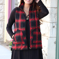 Mad for Plaid Quilted Vest {Red+Black}