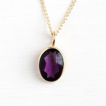 Simulated Amethyst Necklace - Antique 10k Rosy Yellow Gold Vintage Stick Pin Conversion - Edwardian 1900s Pendant Purple Glass Charm Jewelry