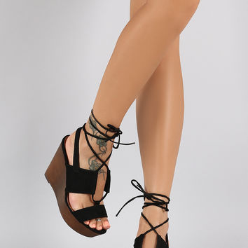 Qupid Suede Corset Lace Up Wooden Platform Wedge