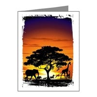 WILD ANIMALS ON AFRICAN SAVA NOTE CARDS (PK OF 20)