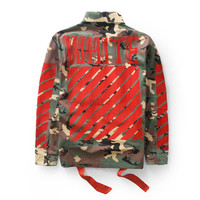 Off White Long Sleeve Shirt Flocking Camouflage Jacket [10182826247]