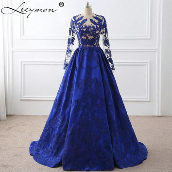 Royal Blue Lace Appliques Long Sleeves Celebrity Dresses 2017 Vestido De Festa Evening Gown Celebrity Red Carpet Dress