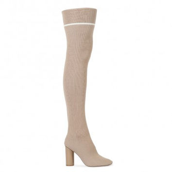 EMMY SOCK FIT STRIPE LONG BOOTS IN NUDE