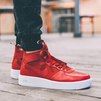 Nike Air Force 1 Ultraforce Mid 864025-002 Red For Women Men Running Sport Casual Shoes Sneakers