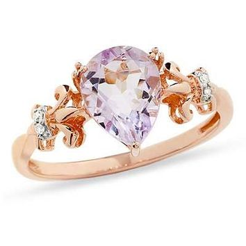 Pear-Shaped Rose de France Amethyst and Diamond Accent Ring in 10K Rose Gold - View All Rings - Zales