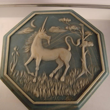 Incolay Vintage Vanity Jewelry Box Carved Unicorn Blue Signed with designers name.