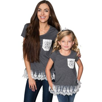 High-Low Lace Trim Casual Fashion Trendy Top Mommy and Me Shirts