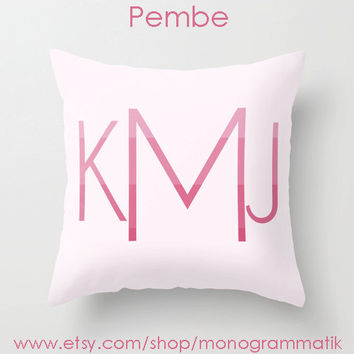 "Monogram Personalized Custom ""Pembe"" Pillow Cover 16"" x 16"" Initials Unique Gift for Her Him Couch Bedroom Room Ombre Light Pink"