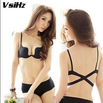 Sexy low-cut deep U push up bra. Backless beauty back girls underwear fashion one piece Seamless bra B cup Hot W type