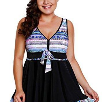 FUSENFENG Womens Plus Size Tribal Print Tankini with Boyshort Swimsuit Swimdress