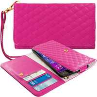 Hot Pink Luxury Leather Wallet Pouch Case Cover with Slots for Apple iPhone 6 Plus / 6S Plus (5.5)