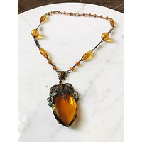 1920s Citrine Amber Czech Glass Necklace