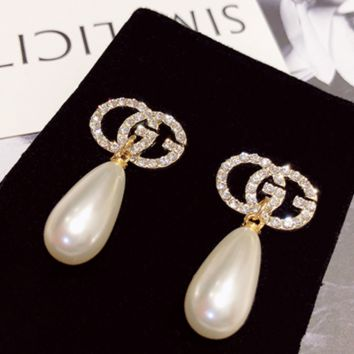Gucci drops of pearl earrings earrings big GG lettersearrings